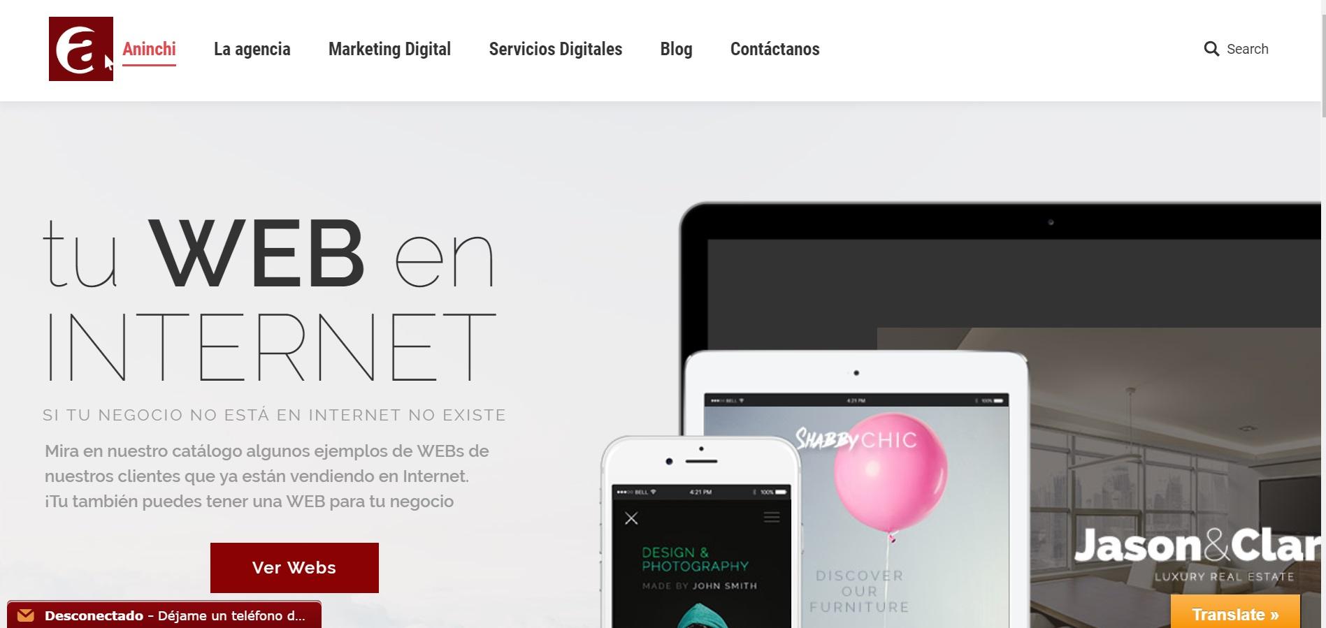 Een screenshot van de aninchi spanje website aninchi.com voor ons website portfolio