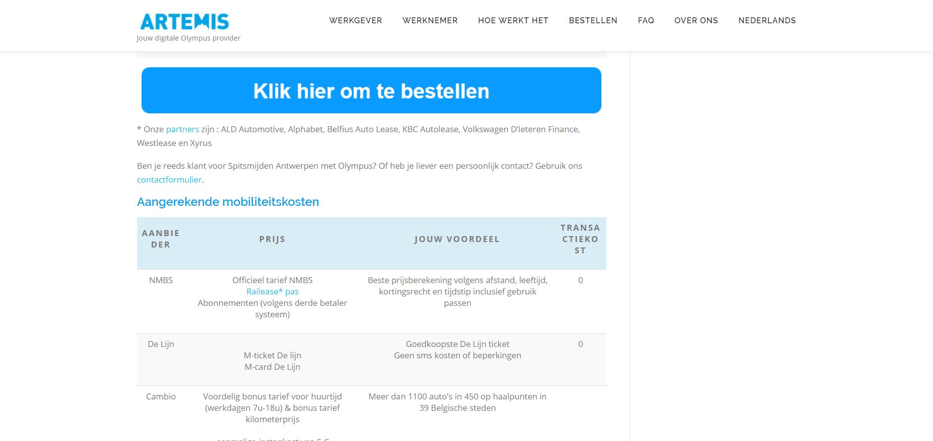 Een screenshot van de artemis-mobility website artemis-mobility.com voor ons website portfolio